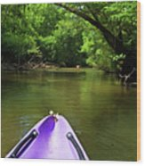 Purple Canoe On The Eyre River Wood Print