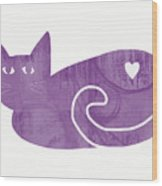 Purple Cat- Art By Linda Woods Wood Print