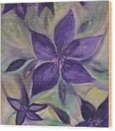 Purple Clematis Abstract Wood Print