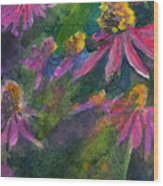 Purple Cone Flowers Outside Beye School Wood Print