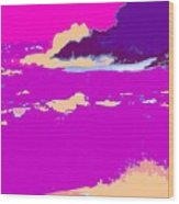 Purple Crashing Waves Wood Print