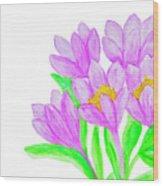 Purple Crocuses, Painting Wood Print