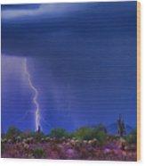 Purple Desert Storm Wood Print