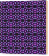 Purple Dots Pattern On Black Wood Print