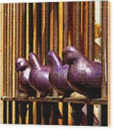 Purple Doves 1 Wood Print