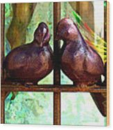 Purple Doves 2 Wood Print