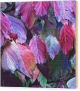 Purple Fall Leaves Wood Print