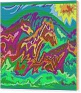 Purple Feathered Horses Wood Print