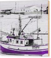 Purple Fishing Boat Wood Print