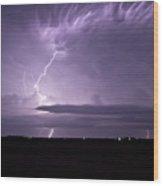 Purple Flames - Lightning On The Great Plains Wood Print