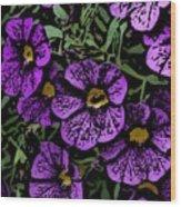 Purple Floral Fantasy Wood Print