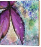 Purple Flower Watercolor Doodle Wood Print
