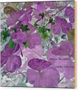 Purple Flower Wishes Wood Print
