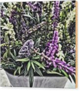 Purple Flowers In Bloom Wood Print