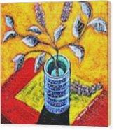 Purple Flowers On Orange Background Wood Print