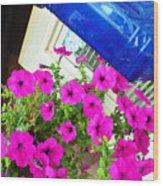Purple Flowers On White Window 2 Wood Print