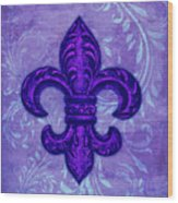 Purple French Fleur De Lys, Floral Swirls Wood Print