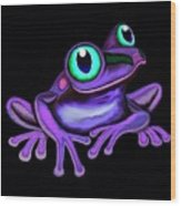 Purple Frog  Wood Print