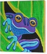 Purple Frog Peeking Through Wood Print
