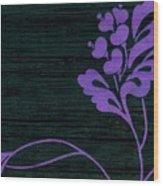 Purple Glamour On Black Weave Wood Print