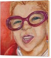 Purple Glasses Wood Print