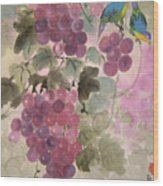 Purple Grapes And Blue Birds Wood Print