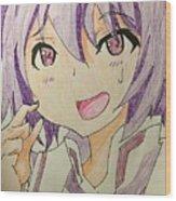 Purple Hair Wood Print