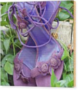 Purple Heels In Periwinkle Wood Print