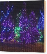 Purple Holiday Lights Wood Print