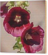 Purple Hollyhock Duo Wood Print