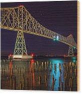 Purple Hour At Astoria Bridge Wood Print