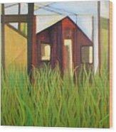 Purple House In A Green Field Wood Print