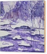 Purple Ice On Kaaterskill Creek Wood Print