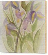 Purple Iris Watercolor Wood Print