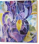 Purple Irises Wood Print by Therese AbouNader