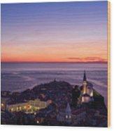Purple Light On The Adriatic Sea After Sundown With Lights On Pi Wood Print