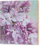 Purple Lilacs With Text Wood Print