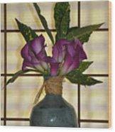 Purple Lilies In Japanese Vase Wood Print