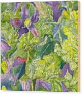 Purple Lillies And Baby's Breath Wood Print