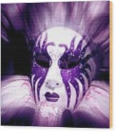 Purple Mask Flash Wood Print