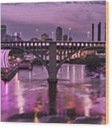 Purple Minneapolis For Prince Wood Print