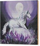 Purple Moon Wood Print