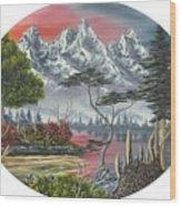 Purple Mountain Lake Wood Print