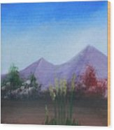 Purple Mountains In The Summer Wood Print