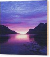 Purple Nordic Fjordland Sunset Wood Print