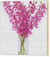 Purple Orchid In Vase Wood Print