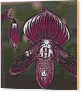 Purple Orchid Woodcut Wood Print