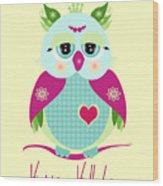 Purple Owl Wood Print