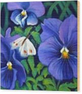 Purple Pansies And White Moth Wood Print