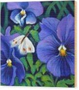 Purple Pansies And White Moth Wood Print